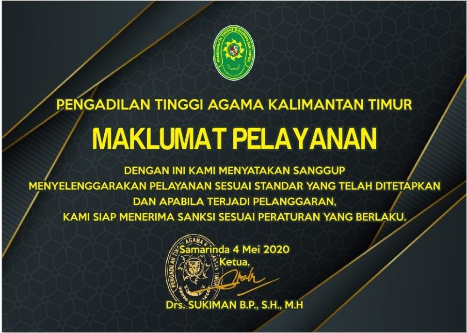 Maklumat Pelayanan PTA Kalimantan Timur